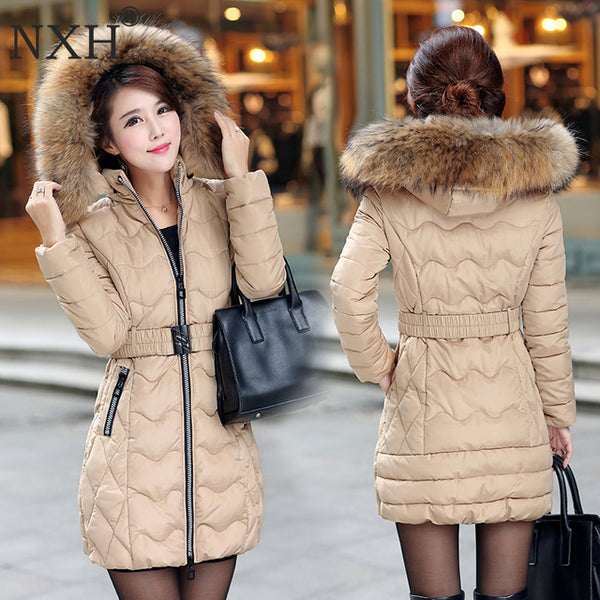 Snow wear wadded jacket female 2020 autumn and winter jacket women slim Long Cotton outerwear winter coat women plus size