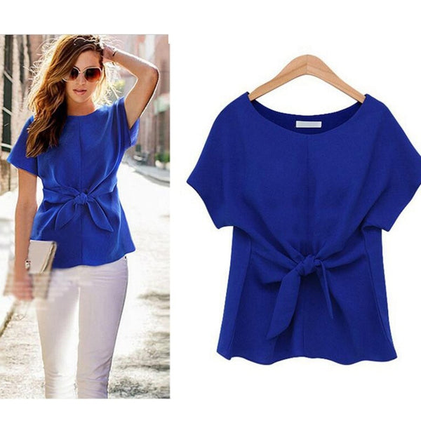 2018 Summer Women Batwings Bowknot Blouses O-Neck Short Sleeve Shirts Casual Chiffon Slim Tops Plus Size Oversize XXXXL