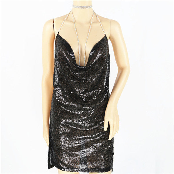Sequins Bling Mini Dress Backless Spaghetti Strap Halter V-neck Draped Sexy Slim Party Club Dresses