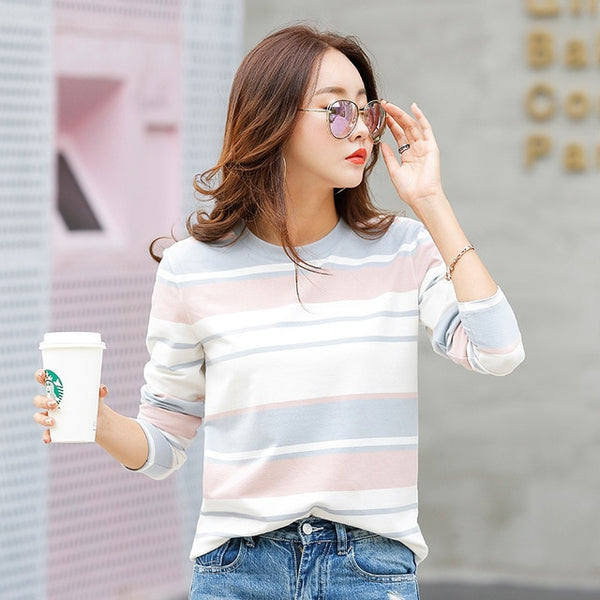 New 2017 Autumn Female T-shirt Long Sleeve Striped Women's T-shirt Cozy Cotton T Shirt Winter Tops Tees Brand Fashion Camisetas