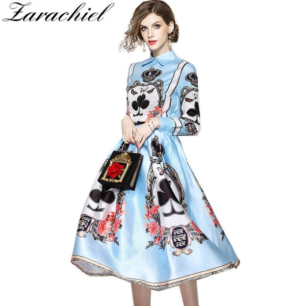 New 2020 Designer Runway 2 Piece Set Women's Vintage Baroque Poker Print Long Sleeve Blouse Shirt+Ball Gown Long Skirt Suit Set