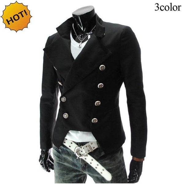 New 2020 Spring Autumn Double Breasted Evening dress Casual Suit British Slim Fit blazer men masculino designs homme brand cloth
