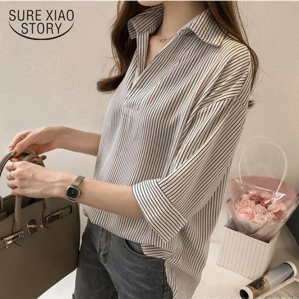 New 2020 Spring Summer Casual Striped Women Blouses Shirts Sexy Fashion Loose V-Neck Shirt Female Tops Clothing Blusas 0643 40