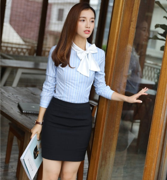 New 2020 Women Suits with 2 Piece Skirt and Top Set Sky blue Blouses & Shirts Ladies Office Uniform Designs