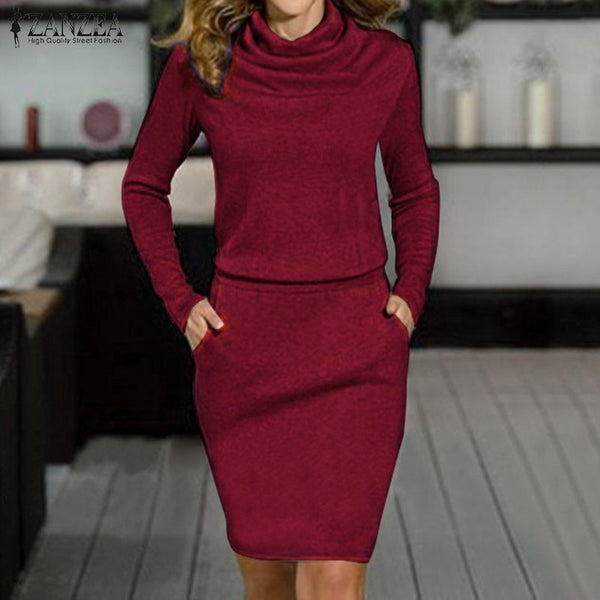 New Arrival 2020 Autumn Women Dress Sexy Turtleneck Long Sleeve Pencil Party Dresses Casual Slim Solid Bodycon Vestidos