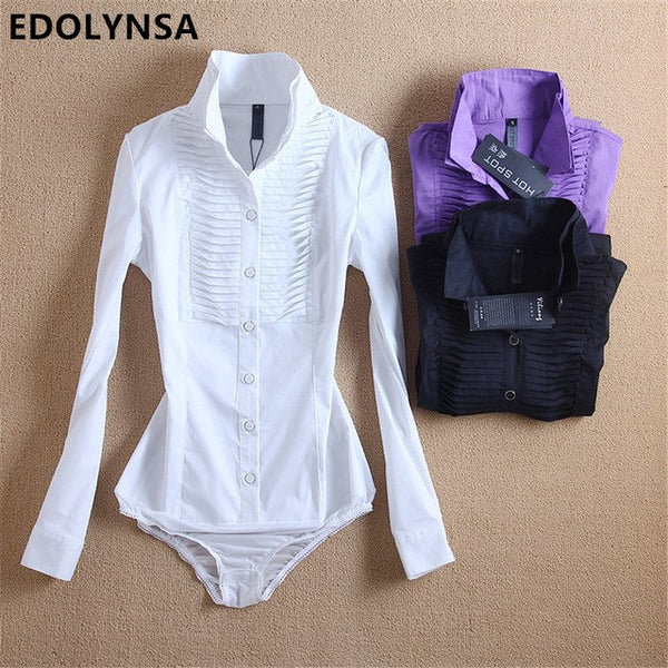 New Arrivals Women Body Blouse Shirt White Long Sleeve Blusas Elegant Tops Female Tunic Blouses Feminina Solid Blusa #B7