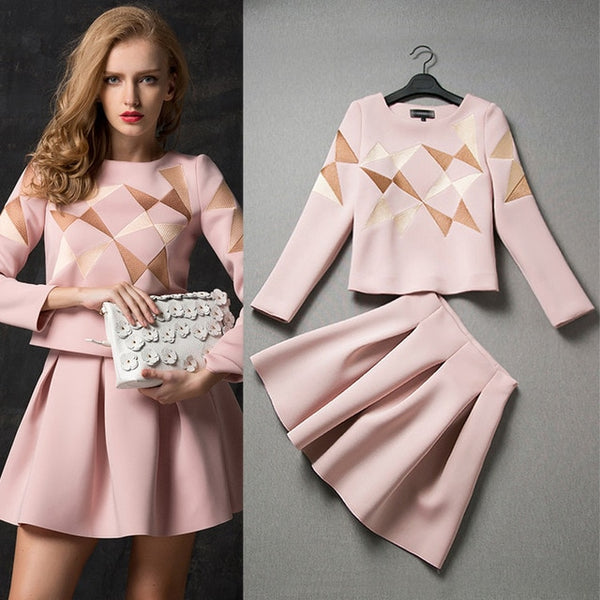 New Brand Designer Runway Pink Skirt Suit High Quality Long Sleeve Blouse Top and Pleated Skirt Suit Women Twinset Clothing Set