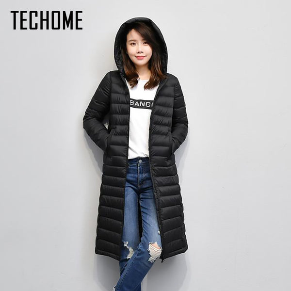 New Brand Ladies Long Winter Warm Coat Women Ultra Light 90% White Duck Down Jacket Women's Hooded Parka Female Jackets Women