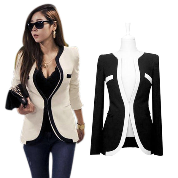 New Fashion Autumn Spring Women Slim Blazer Coat Casual Jackets Long Sleeve V-Neck One Button Suit OL Outerwear  -MX8