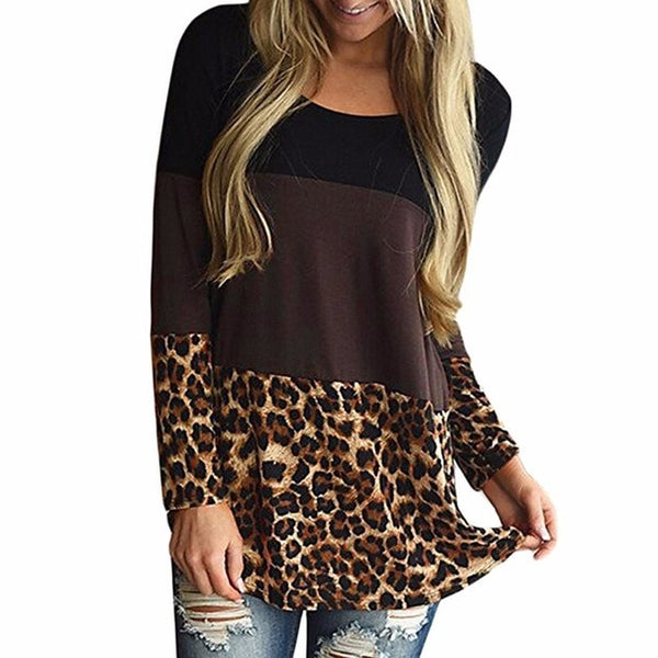 New Fashion Casual Women Autumn Winter Blouse Back Lace Tunic Tops Leopard Casual Long Sleeve Tops Shirts Blouse Female Blouses