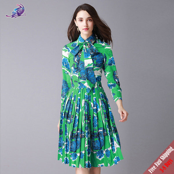 New Fashion Runway Designer Suit Women's Turn Down collar Bow Green Baroque style Printed Blouse Tops+Skirts Set Free Express