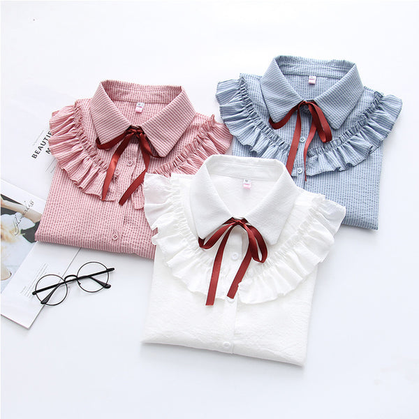 New Ruffles Women's Shirts Striped White Blouses with Bow Flare Long Sleeve Shirt Women Autumn Chiffon Shirt Blouse Top Female