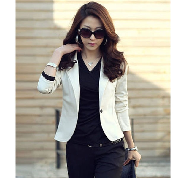 New Spring Autumn Women's Sexy One Button Small Suit Jackets Women Coat Blazer Black, Coffee, Pink, Beige, Navy Blue WC148