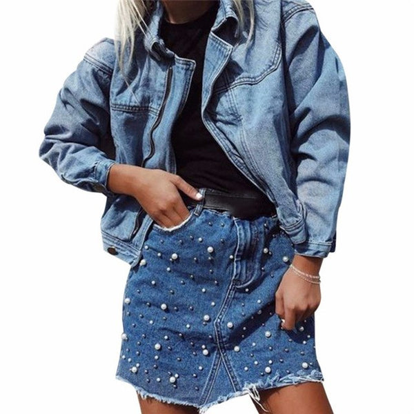 New arrival fashion women summer high waist bodycon mini skirt casual embroidery pearls tassel irregular denim pencil mini skirt