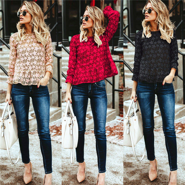 Newest Womens Lovely Star Lace Blouses Sexy Hollow Tops Long Sleeve Shirt O-Neck Blouse Tunic Great For Office Blusas Femininas