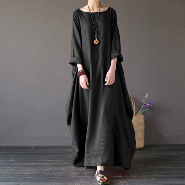 [OL] 2020 Summer autumn Plus Size Dresses Women 4xl 5xl Loose long vintage Dress Boho Shirt Dress Maxi Robe fashion Female Q293