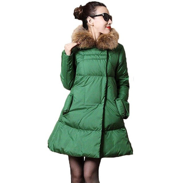 OMLESA Plus Size S-5XL Women's Winter Jacket Fur Collar White Duck Down Warm Cloak Coat Female Parkas Women Abrigos Mujer YC675
