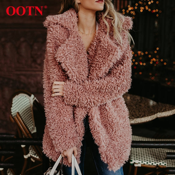 OOTN Teddy Bear Jacket Pink Faux Fur Coat Women Plush Long Shaggy Cardigan Female Winter Warm Outerwear Overcoat Jacket Black