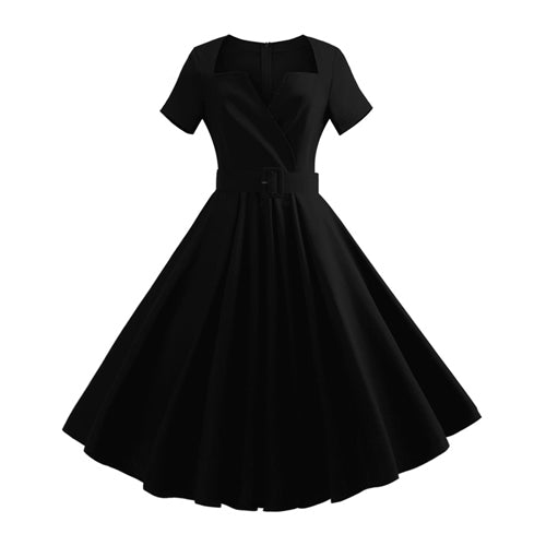 Big Size Clothing Women Summer V neck Short Sleeve Black Red Vintage Rockabilly Casual Party Knee Length Elegant Sexy dress