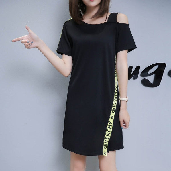 Off white white off shoulder dress short sleeve women shirt ...