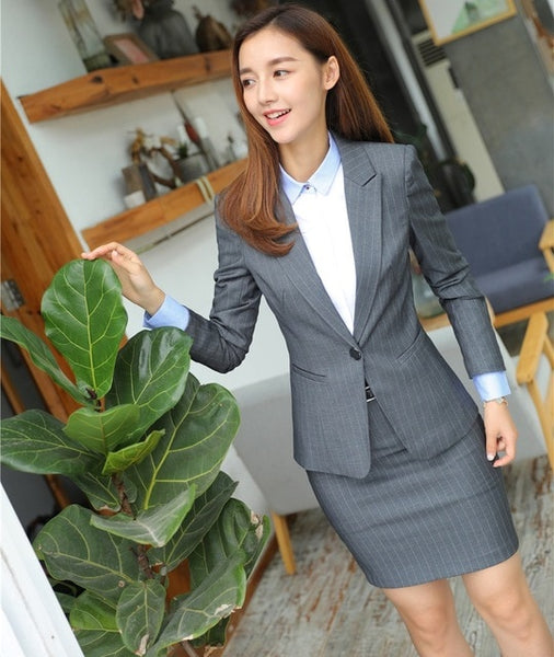 Office Uniform Designs Women Business Suits Skirt and Jacket Sets Ladies Grey Blazer Work Wear Clothes