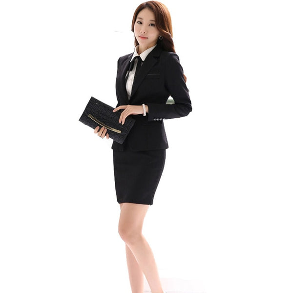 Office Uniform Designs Women Skirt Suit 2020 Costumes for Womens Business Suits Skirts with Blazer Black Gray Plus size 4XL 5XL