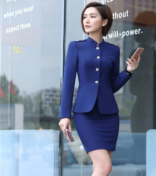 Office Uniform Designs for Women Business Suits with Skirt and Jacket Sets Ladies Blazer Suits Work Wear Clothes Blue