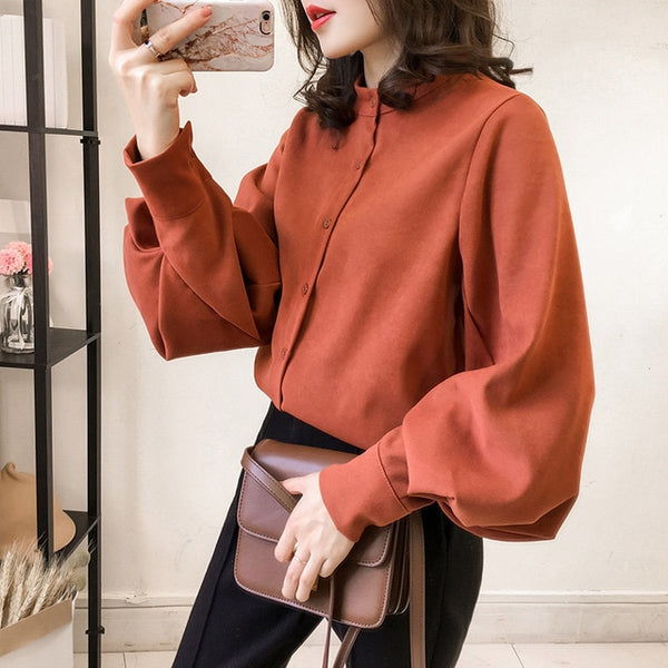 Office Women Blouse Long Sleeve 2020 Ladies Suede 3XL 4XL Plus Size Blouse And Tops Female Vintage Oversize Loose Puff Shirt