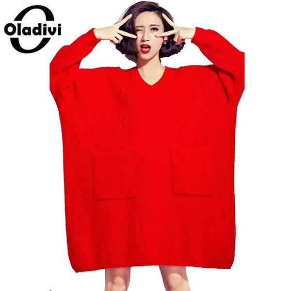 Brand Plus Size Women Clothes Casual Loose Sweater Dresses Female Oversized Dress Ladies Knitted Pullover Tunic Vestidio