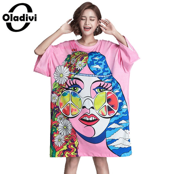 Plus Size Women Clothing Fashion Girl Floral Printed Casual Loose Dress Female Tops Tees Girl Shirt Tunics Vestidos 6XL