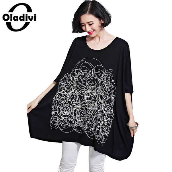 Plus Size Women Clothing Oversized Shirt Fashion Ladies Top Tees Casual Tunic Female Print Cotton T-Shirt Vestidos Black