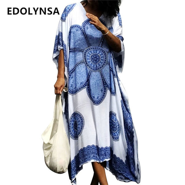 Oversized Boho Blue Floral Print Cloak Sleeve Maxi Kaftan Dress Plus Size Women Clothes 2020 Long Kaftans Robe Maxidress N485