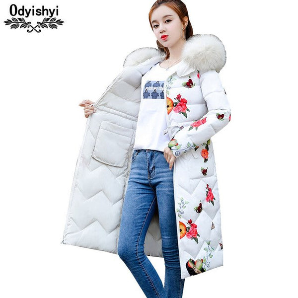 Parka Women Jacket Long Winter Cotton Coat Plus size 2018 Fashion Double-sided wear Printing Jackets Hooded Winter Outwear HS138