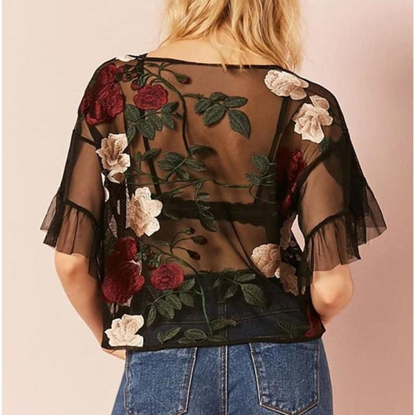 Plus Size Blouse Fashion Embroidered Transparent Sexy Mesh Female Blouse Short Sleeve Tops female Blouse