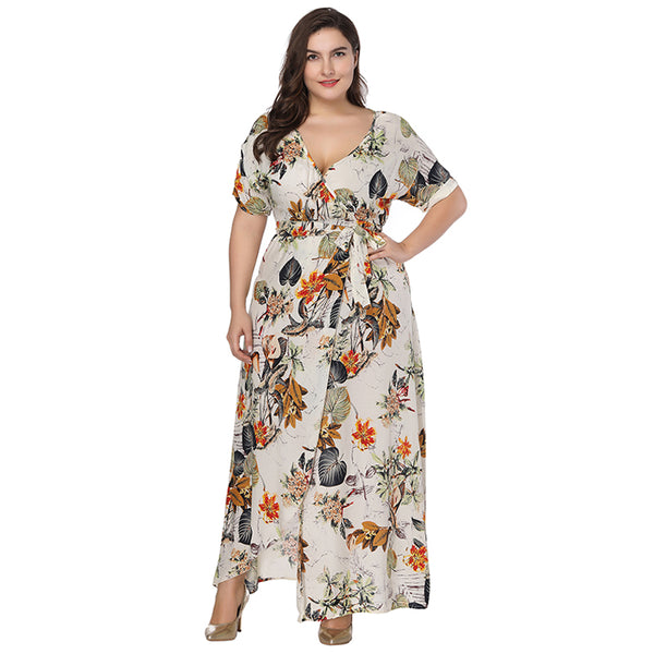 8efe9465784 Plus Size Floral Print Boho Dress 2018 Fashion Women Summer Short Sleeve V  Neck Wrap Dress