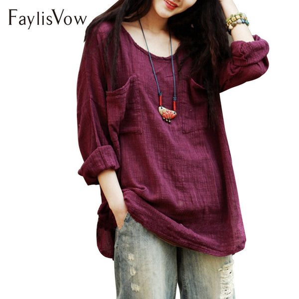Plus Size Summer Spring Cotton Linen Blouse 4XL 5XL Loose Long Sleeve Crew Neck Solid Color Casual Shirt Women Blouses Tops