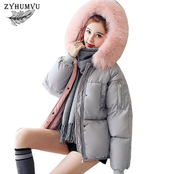 Plus Size Women 2018 Down Cotton Jacket Winter Thicker Warm Large Fur Collar Slim Outerwear Hooded Parka Female Padded Coat ZY41