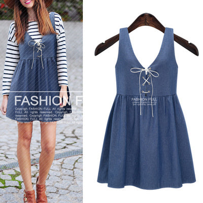 Plus Size Women Jeans Jumper Dress New All-match Big Size Solid Suspender  Dresses