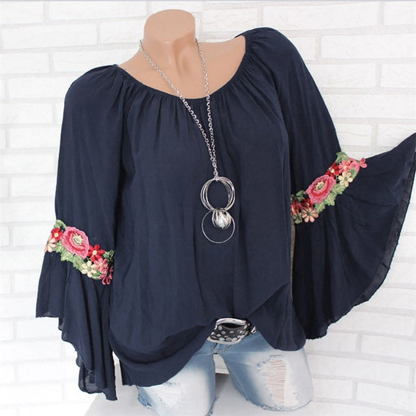 Plus Size Womens Tops and Blouses 2020 Streetwear Appliques Shirts Feminina Long Flare Sleeve Blouse Tunic Ladies Top Clothes