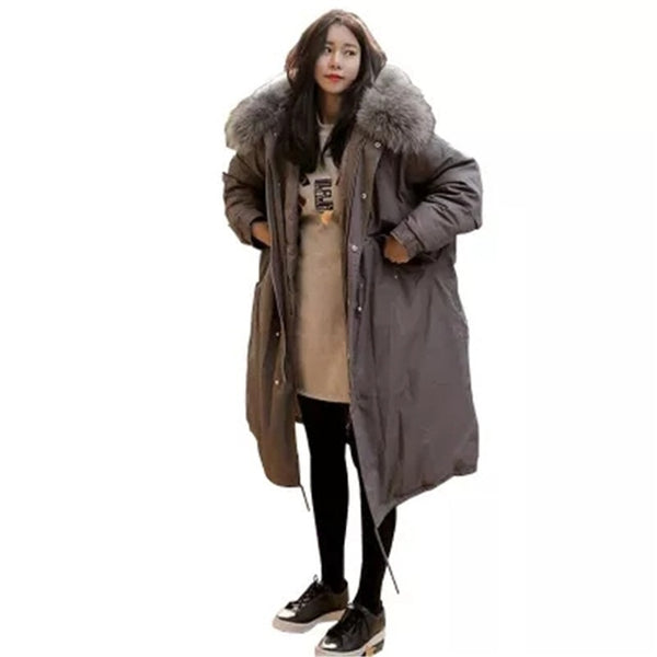 Plus Size X-long Style Winter Jackets Woman 2017 New Fur Hooded Cool Khaki Gray Black Windproof Cotton Coat Oversize Parkas L926