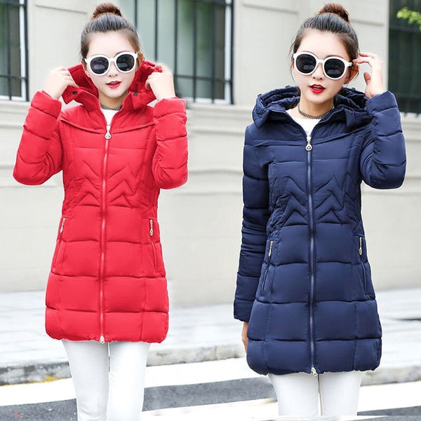 Plus size 6XL winter jacket women Warm Long Down Parkas Women Down Jacket Coat Cotton Padded Winter Coat Female Jacket New 2018