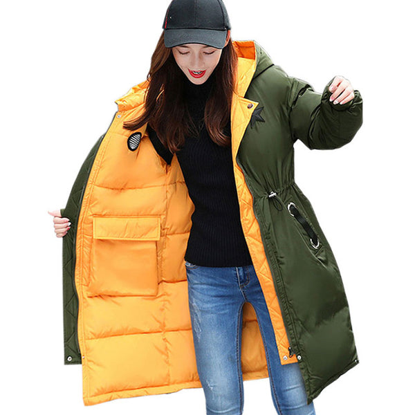 Plus size Women Wear Both Sides Wear Coat winter new 2017 Down Cotton Female Stitching Parkas Hooded Warm Loose Long Jacket X114
