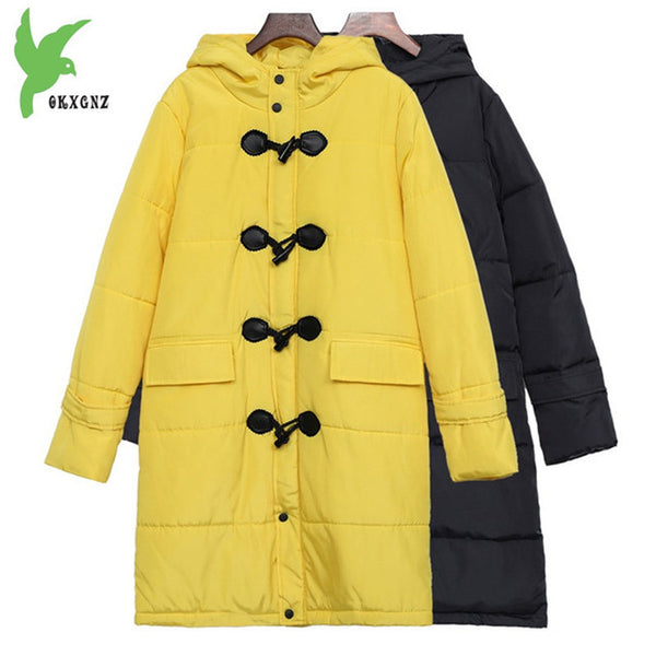 Plus size Women winter down cotton jackets new Loose warm parkas Hooded Outerwear female Cotton jacket 100KG can wear 1340