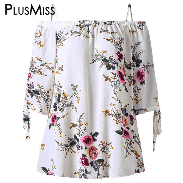 PlusMiss Plus Size 5XL Off Shoulder Top Women Clothes Boho Floral Print Summer Chiffon Blouse 2020 Loose White Blusas Big Size