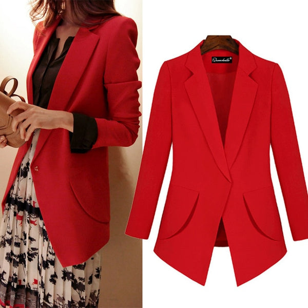 Queechalle Red Black 4XL 5XL Big Size Notched Slim Blazer Coat Women Long Sleeve Office Lady Workwear Jacket Suit Women's Blazer