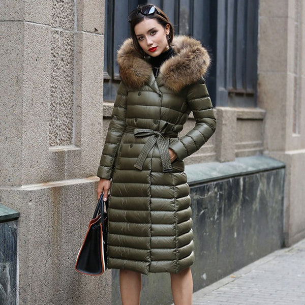 Real Fur Winter Down Jacket Women Hood Coat 2020 Brand New Big Raccoon Fur Collar Army Green Casual Long Slim Warm Women Parka