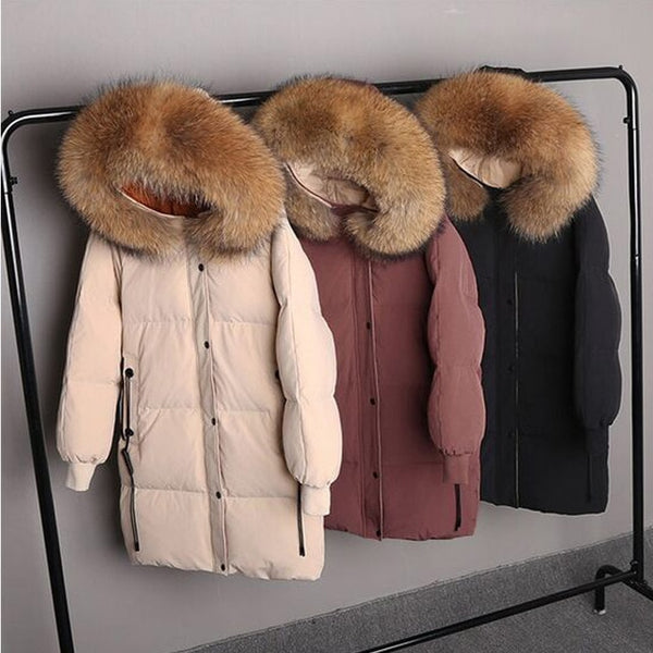 Real Natural Raccoon Fur 2018 New Winter Jacket Women White Duck Down Jacket Thick Hood Coat Long Plus Size Parka Female Jacket