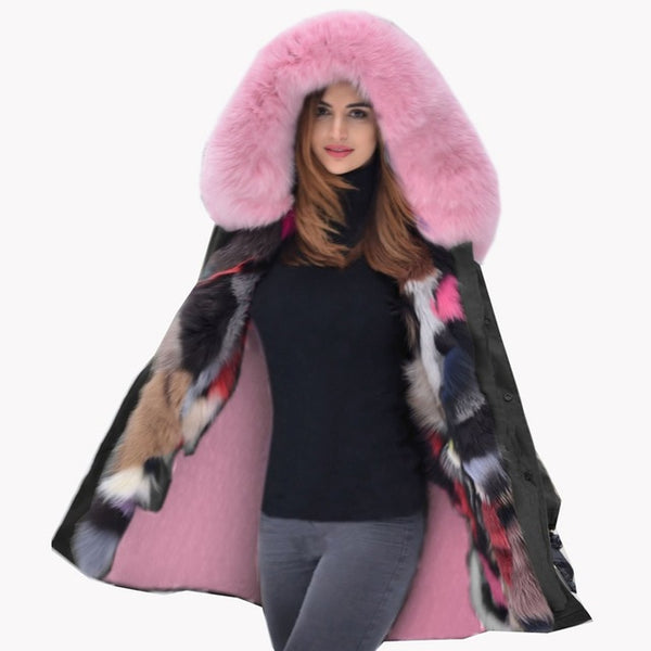 2020 Fashion Winter Coat Loose Hooded Pink Faux Fur Thickened Overcoat Snow Wear Long Parka Female Luxury Jacket Plus Size