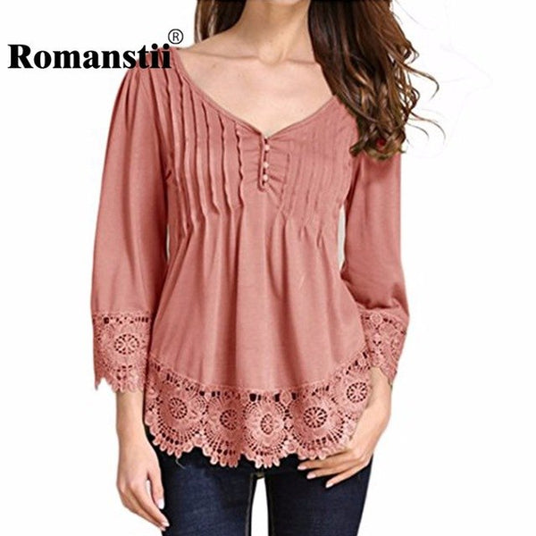 Women Blouse 2017 Fashion Summer Sexy V-Neck Flare Sleeve Patchwork Ruffles Floral Lace Button Tunic Female Tops Femme