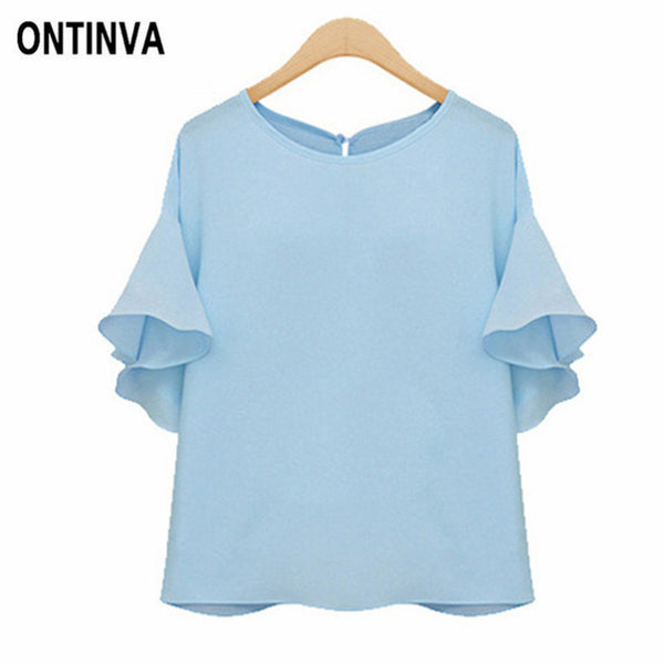 Ruffle Sleeve Chiffon Office Blouses Summer Oversized Shirt Casual Tops Camisas Mujer 2020 Elegant Plus Size Ladies Clothes